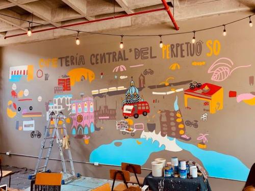 Murals by María Toro seen at Cafeteria Central Del Perpetuo Socorro (Cafe Peso), Medellín - Indoor Mural