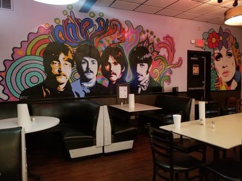 Murals by Albert Gonzales seen at Burger Culture, San Antonio - The Beatles
