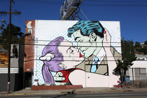 Murals by D*Face seen at Six Point Harness, Los Angeles - Parting Kiss