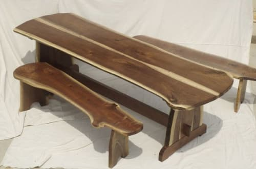 Benches & Ottomans by Local Wood seen at Private Residence, Winchester - Walnut Picnic table and Benches