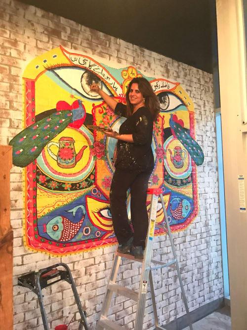Murals by Farhee  ~ Chundri Art and Design seen at Mississauga, Mississauga - Pakistani Truck Art Mural in Restaurant