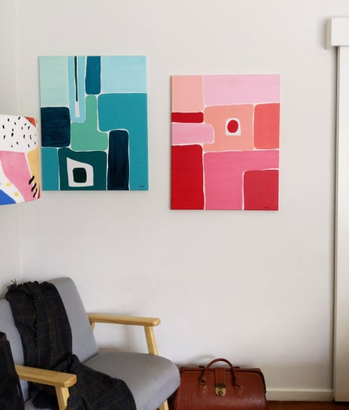 Paintings by Ellen McKenna seen at Town Hall Gallery, Hawthorn - 'My Right Hand' Painting and Pattern Collection