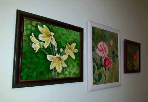 Paintings by Ostin Art seen at Private Residence, Cluj-Napoca - The Roses and Royal Lilly