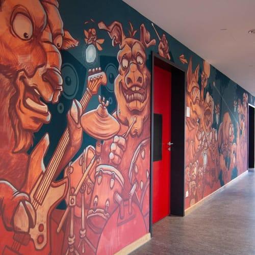 Murals by Lion Fleischmann seen at Feierwerk Trafixx, München - Cartoon mural