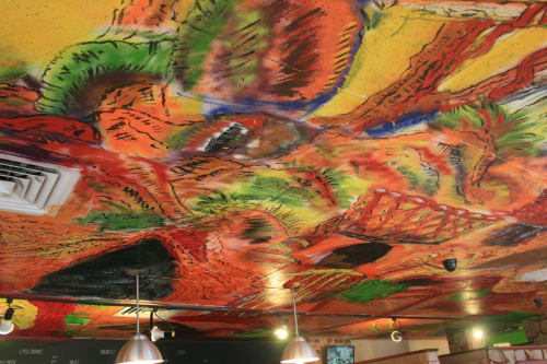 Murals by Eli Portman seen at Farmer Horse Coffee, Boston - Farmer Horse Coffee-Ceiling Mural