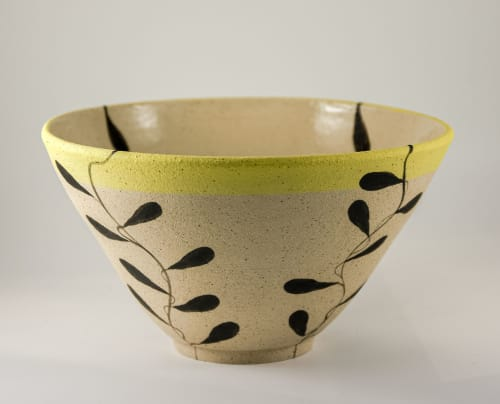 Vases & Vessels by Kyra Mihailovic Ceramics seen at Private Residence, London - Large stoneware vessel in 'Foliage' design
