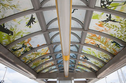 "Public Sculptures by Beatrice Coron seen at Harbor Gateway Transit Center, Gardena - ""Dreams"", 2015"