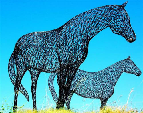 Public Sculptures by Sculpture by Peter Busby seen at Plano, Plano - Steel Horses