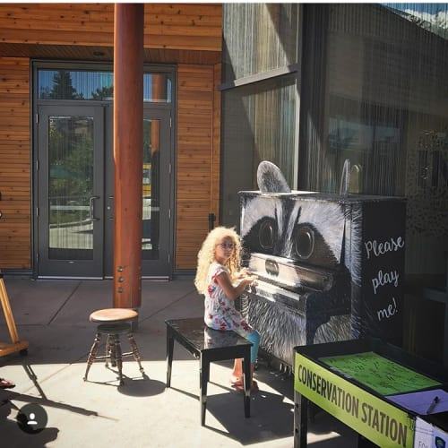 Public Sculptures by Open Eye Art seen at ADX, Portland - Wendy the Raccoon Piano
