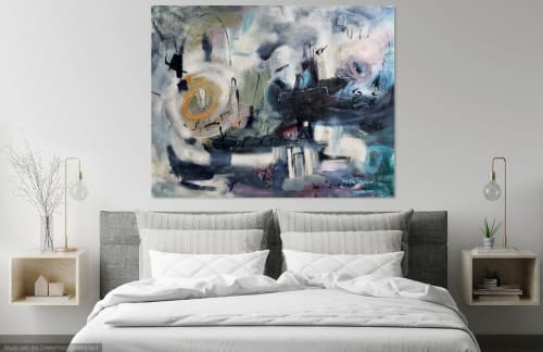 Paintings by Marie Manon Art seen at Private Residence, Calgary - Love you to the Moon