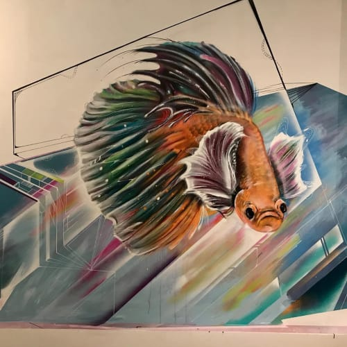 Murals by Max Ehrman (Eon75) seen at Palette Gallery, San Francisco - Fish Mural