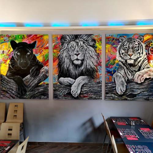 """Paintings by Yehiel Attias seen at B. at Byblos Restaurant Saint-Tropez, Saint-Tropez - """"Best friend"""" Painting"""