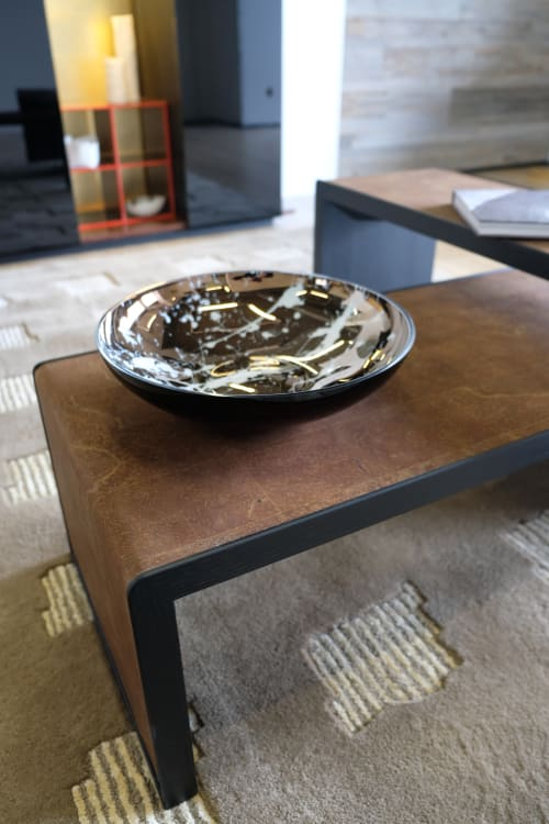 Tableware by an&angel seen at an&angel studio, Riga - TITAN FLAT BLACK BOWL WITH WHITE SPLASHES