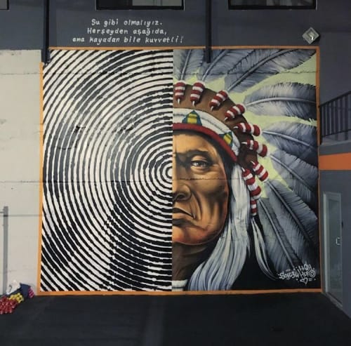 Murals by Highero seen at İstanbul, Istanbul - Sitting Bull