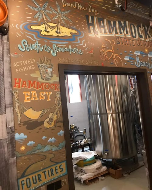 Murals by Paul Carpenter Art seen at Crooked Hammock Brewery, Middletown - Crooked Hammock Brewery Mural