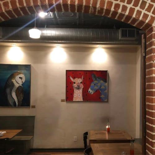 Paintings by Emily Reid seen at Diavola Pizzeria & Salumeria, Geyserville - Animal Paintings