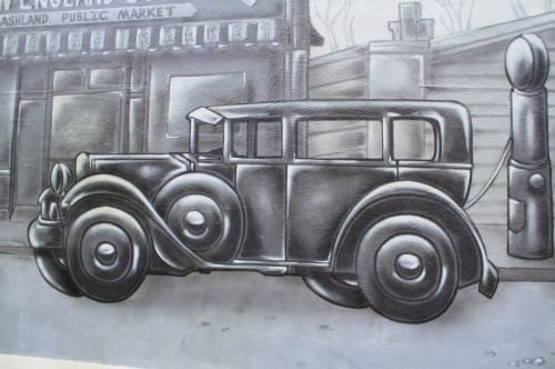 Murals by Jared Goulette | The Color Wizard seen at Main Street Wine & Spirits, Ashland - Maine Street Wine & Spirits exterior Mural