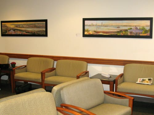 Paintings by Nedret Andre seen at Mount Auburn Hospital, Cambridge - Hagia Sophia and Bruegel's Boat