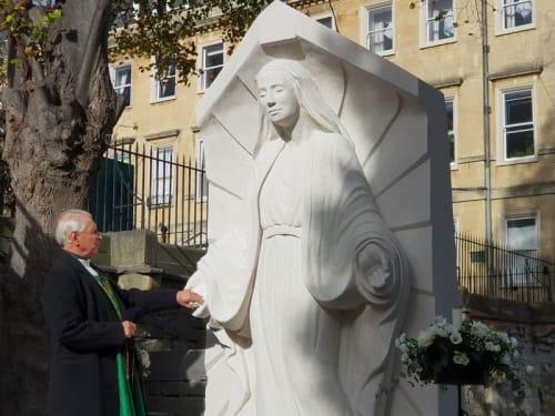 Public Sculptures by Ben Dearnley seen at St John's Church, Bathwick - Our Lady of Bath, Queen of Peace