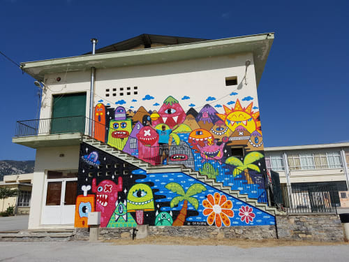 Street Murals by Ox-Alien seen at Private Residence, Volos - School in Volos, Greece
