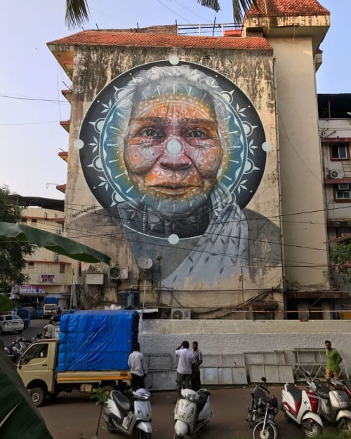 "Street Murals by Miles Toland seen at Panaji, Panaji - ""BRIMMING"" 4 Story Mural"