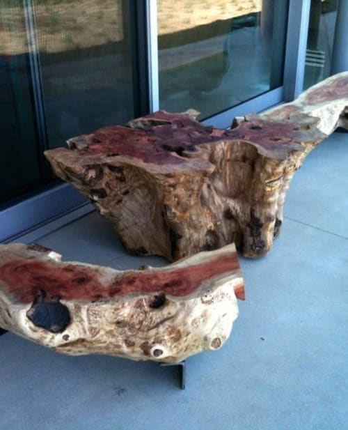 Furniture by Alabama Sawyer seen at Private Residence, Malibu - Outdoor Table and Benches