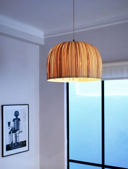 Lamps by Wood U Light seen at Private Residence, Athens - Bell Olive & Maple