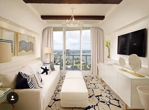 Rugs by MASTOUR Fine Rugs seen at The Ritz-Carlton Residences at Singer Island, Palm Beach, Riviera Beach - Modern Blue & White Silk Rug