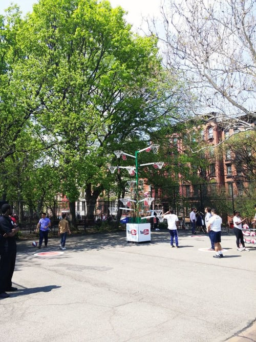 Public Sculptures by NKdsgn LLC seen at Tompkins Square Park, New York - Dude Perfect Basketball Tree