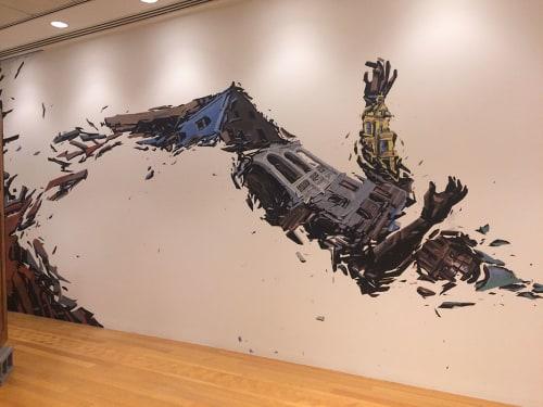 Murals by Rodrigo Pradel seen at Inter-American Development Bank - Enrique V. Iglesias Auditorium,, Washington - Falling Not Flying
