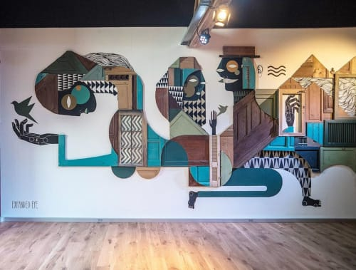 Murals by Expanded Eye seen at WALTER, Anderlecht - Walter Brussels installation
