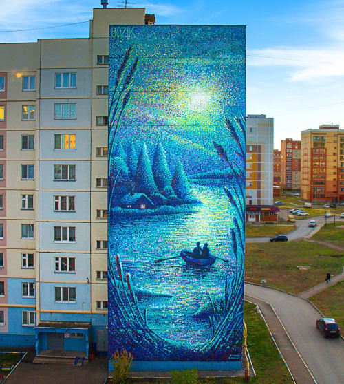 Street Murals by Bozik Art seen at Almetyevsk, Almetyevsk - Moon