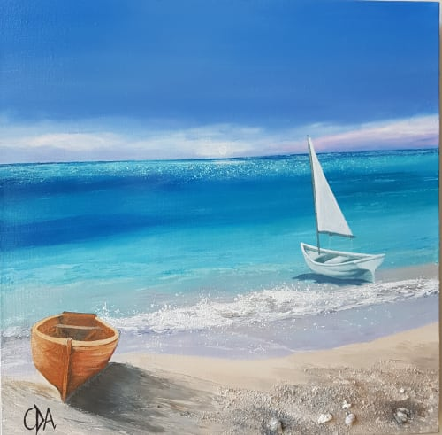 Paintings by Carolina Arbuthnot seen at Private Residence, Solihull - Boats On Shore