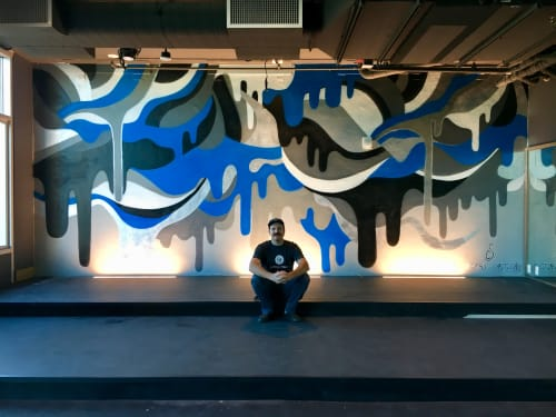 Murals by Cory Schnitzer seen at Fit Athletic Club & Gym, San Diego - Spin Drips
