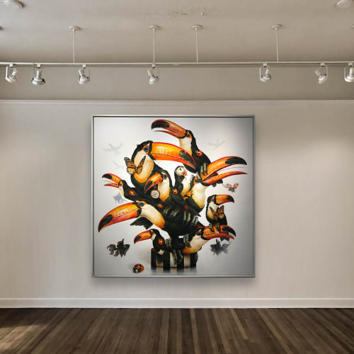 """Paintings by Greg """"Craola"""" Simkins seen at Private Residence, Los Angeles - """"TRY TO FIT IN"""""""