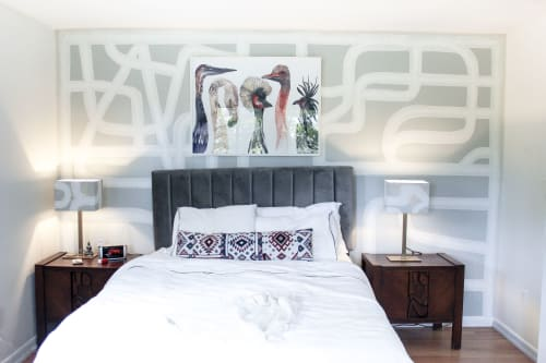Murals by Rowan Willigan seen at Private Residence, Hyde Park - Custom abstract mural and matching painted lampshades in the bedroom of a private residence.