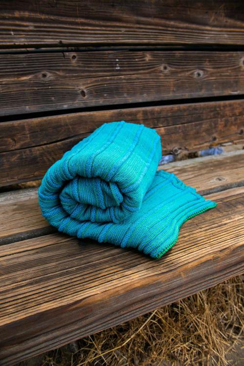 Linens & Bedding by bläanks seen at Creator's Studio, Pasadena - solo travel throw | turquoise + jade
