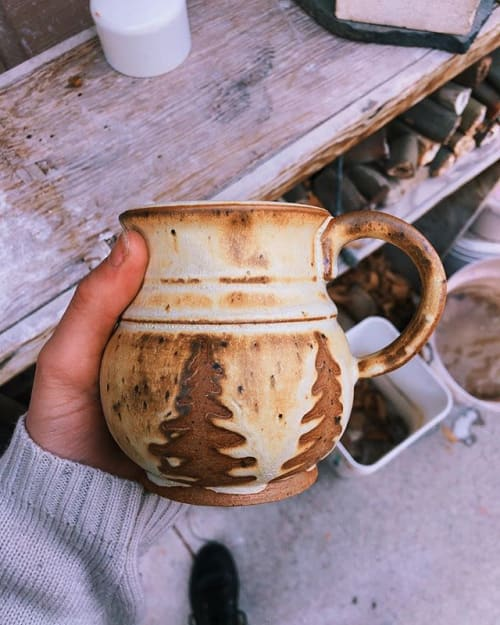 Sculptures by pine tree pottery seen at Private Residence, Twin Falls - Yellow Salt Tree Mug