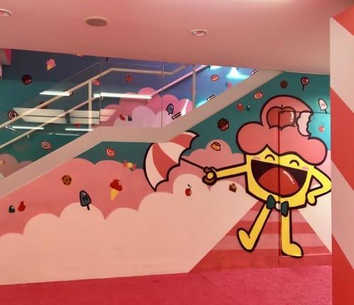 Murals by Bolinho seen at O Museu Mais Doce do Mundo, Barra da Tijuca - Cupcake mural