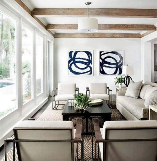 Paintings by Mary Elizabeth Peterson at Private Residence, Sea Island - Blue Rings