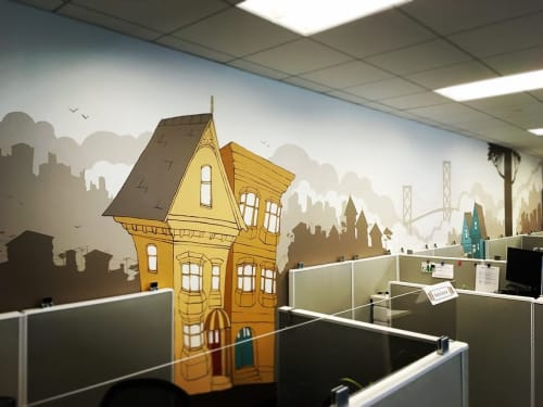 Murals by Ursula Xanthe Young seen at Arabella Advisors, San Francisco - SF Office Space mural