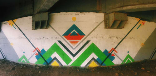 Murals by LAMKAT seen at Palomino Bridge, Palomino - LA JORARÁ