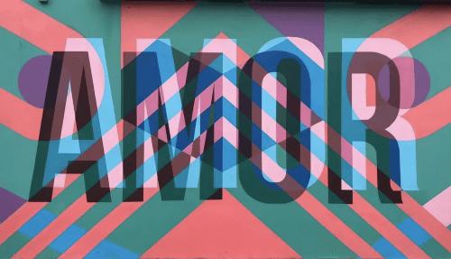 AMOR Mural | Murals by Teddy Kelly | Candela La Brea in Los Angeles
