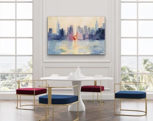 "Paintings by Beverly Brown seen at Creator's Studio, New York - ""Manhattanhenge"" NYC skyline giclée canvas print"