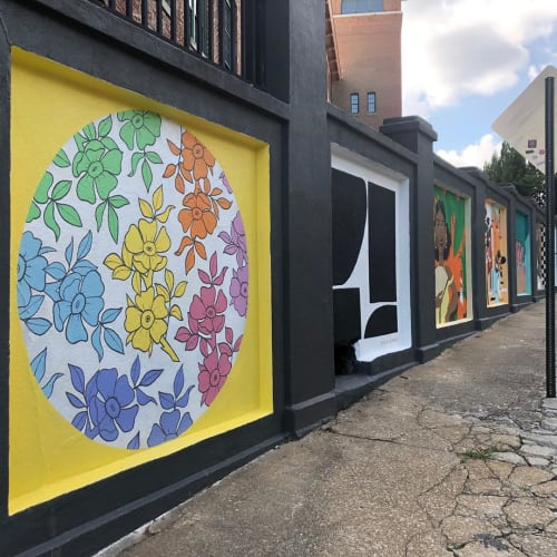 Street Murals by Kayleen Scott seen at Carroll Street Southeast, Atlanta - Rainbow Floral Mural