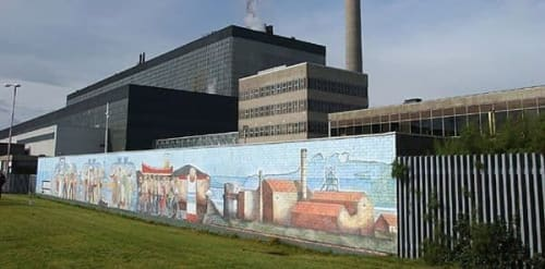 Murals by Andrew Crummy seen at Power Station, Cockenzie - Cockenzie Powerstation mural