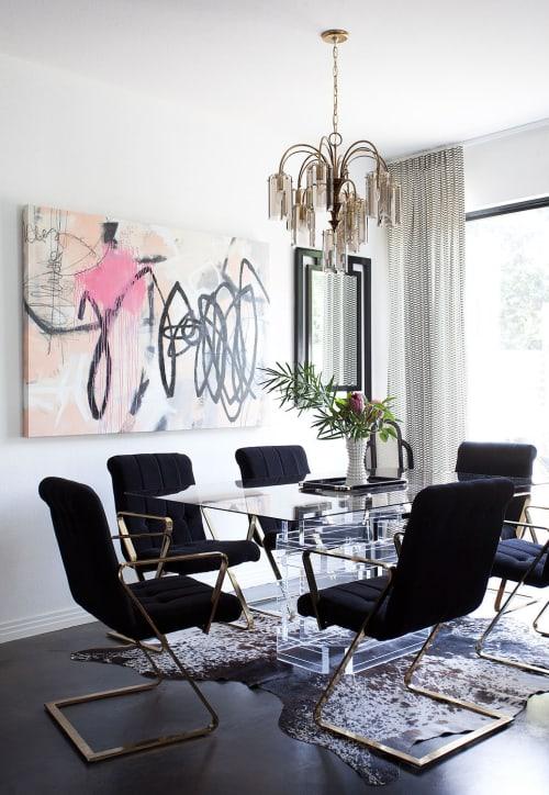 Paintings by Elisa Gomez Art seen at Elizabeth Mollen's Home, Austin - Rhapsody in Pink Minor III