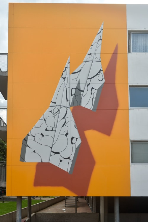 "Street Murals by Nuno Viegas seen at Désiré Fiévéstraat, Gent - ""Paper Planes VII"""