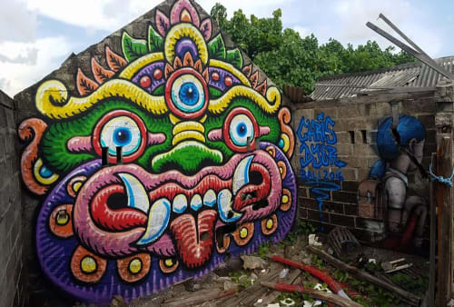 Street Murals by Chris Dyer at Bali, Indonesia - Barong in Bali