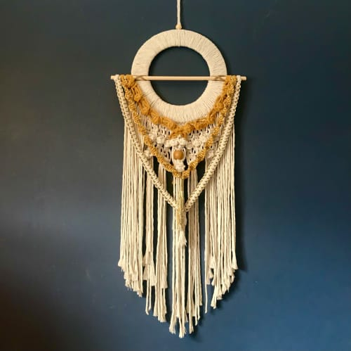 Macrame Wall Hanging by Knotty Potty seen at Private Residence, Liverpool - Áine, Meaning brightness, is an Irish Goddess of Summer.